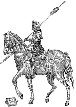 Jeździec z grafiki Duerera narysowany przez 8-letniego Dušana (fot. facebook.com)