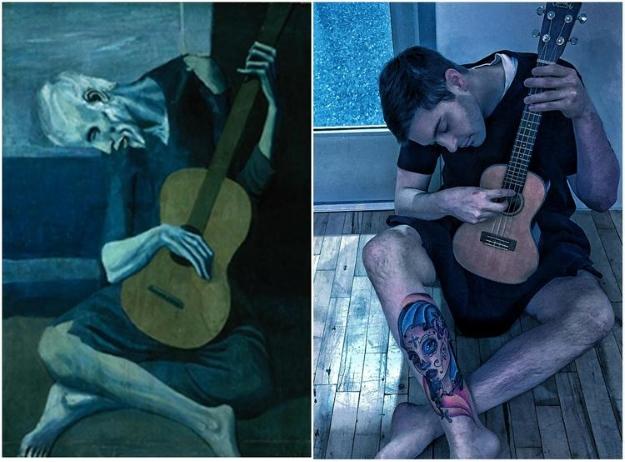 """Stary gitarzysta"", Pablo Picasso. Fot. foolsdoart.com"