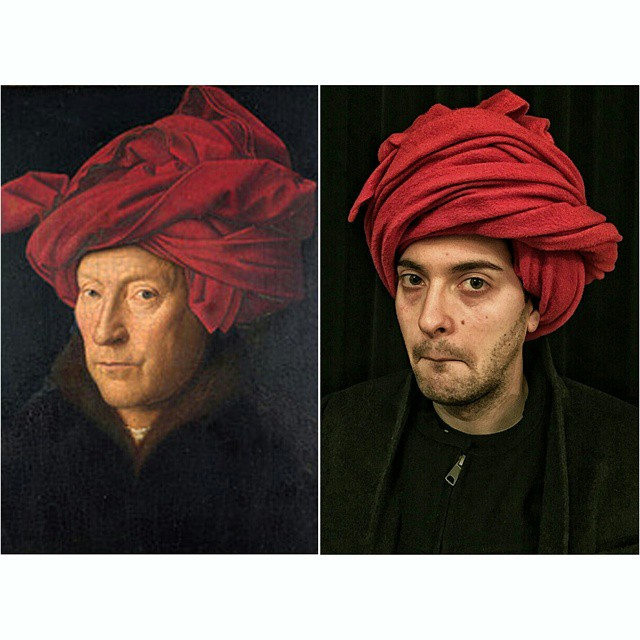 """""""Portret mężczyzny w turbanie"""", Jan van Eyck. Fot. http://www.foolsdoart.com/"""